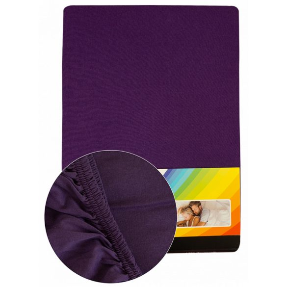 Colored fitted sheet 90-100cmx200cm dark purple