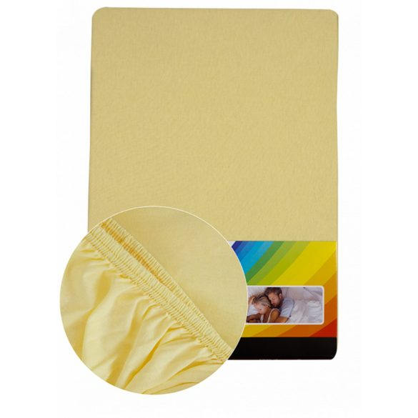 Colored fitted sheet 180-200cmx200cm light yellow