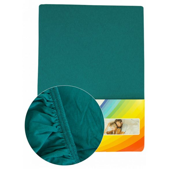 Colored fitted sheet 140-160cmx200cm petrol