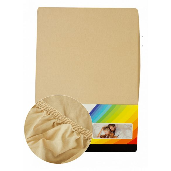 Colored fitted sheet 180-200cmx200cm beige