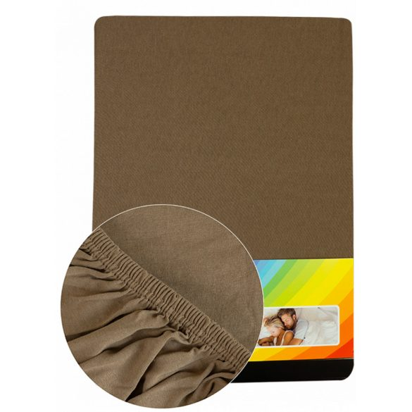 Colored fitted sheet 90-100cmx200cm lightbrown