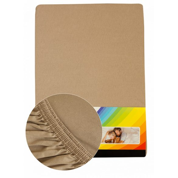 Colored fitted sheet 140-160cmx200cm sand