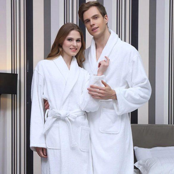 Fehér frottír köntös sálgalléros M méret, hotel minőség