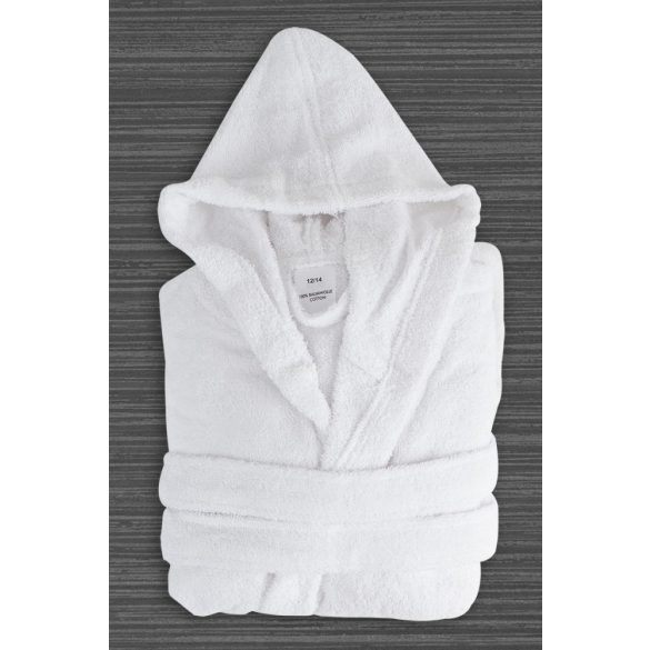 White gyermek terry kapucnis robe 4-6 éves korig