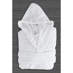 Fehér gyermek frottír kapucnis köntös 10-12 éves korig, hotel minőség