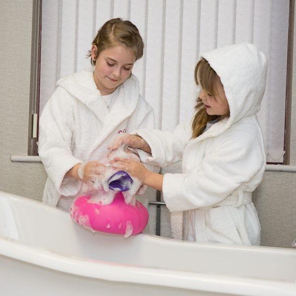 Fehér gyermek frottír kapucnis köntös 6-8 éves korig, hotel minőség