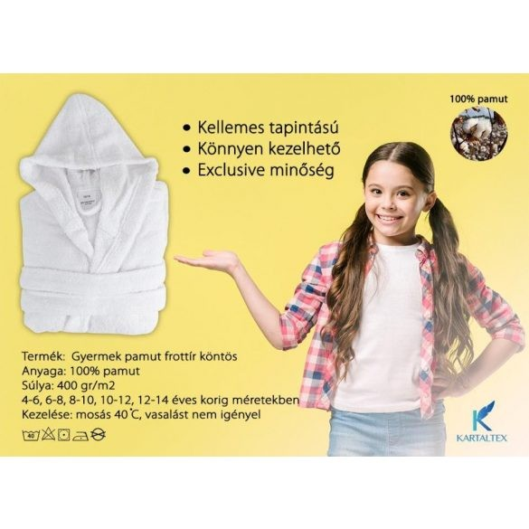 White gyermek terry kapucnis robe 8-10 éves korig